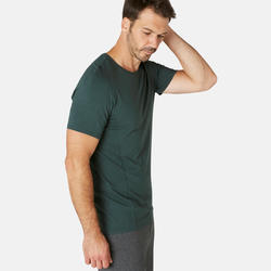 Men's Slim-Fit Gentle Pilates & Gym Sport T-Shirt 900 - Dark Green