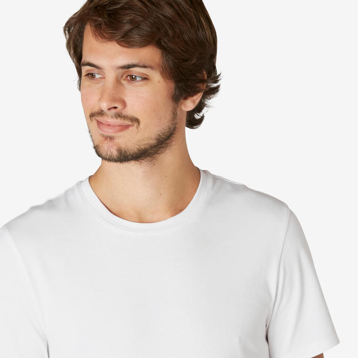 Men's Slim-Fit Pilates & Gentle Gym Sport T-Shirt 500 - White