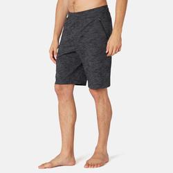 男款標準剪裁長版溫和健身與皮拉提斯短褲520 - 灰色印花