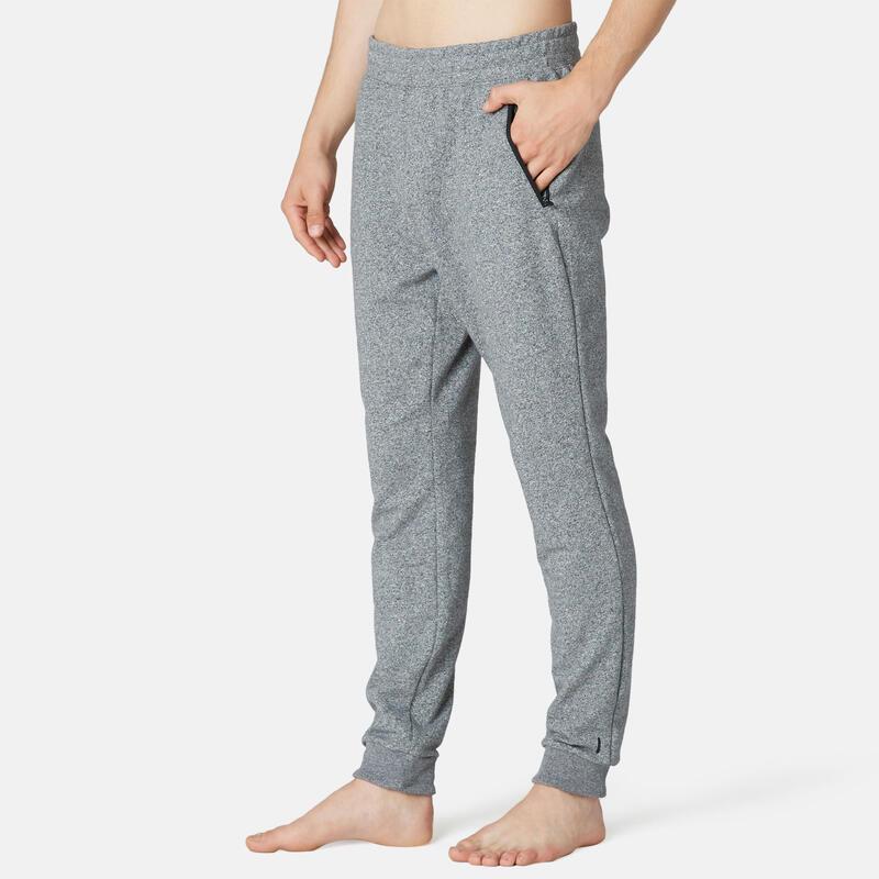 Pantalón jogger Fitness Slim Bolsillos cremallera gris