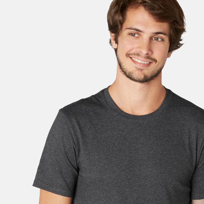 T-Shirt 500 Slim Gym & Pilates Herren dunkelgrau