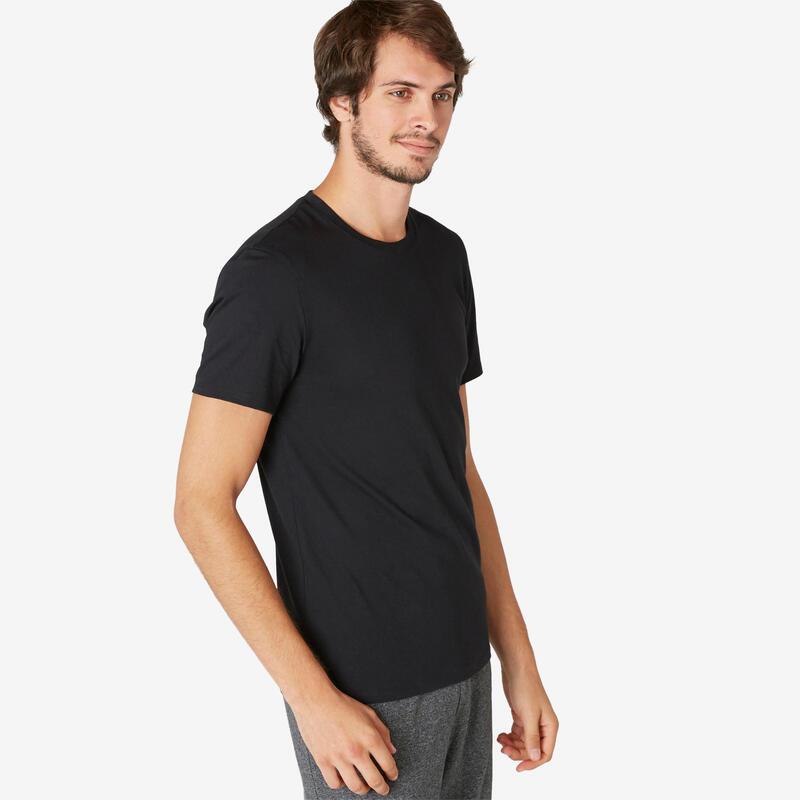 Stretch T-shirt voor fitness slim fit katoen zwart