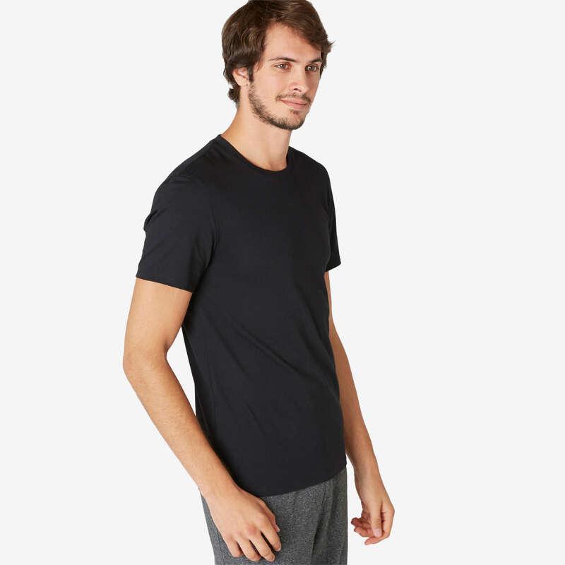 KLÄDER FÖR GYMNASTIK, PILATES, HERR Herr - T-tröja Slim 500 herr svart NYAMBA - Överdelar
