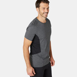 Men's Slim-Fit Pilates & Gentle Gym Sport T-Shirt 900 - Dark Grey
