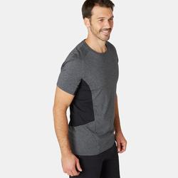 T-Shirt Sport Pilates Gym Douce homme 900 Slim Gris Foncé