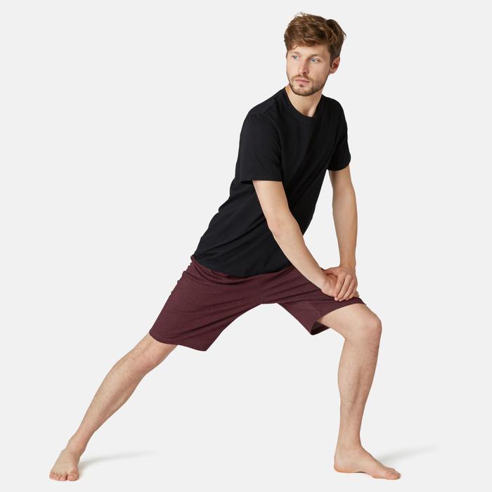 Short voor pilates en lichte gym heren 500 lang regular fit bordeaux
