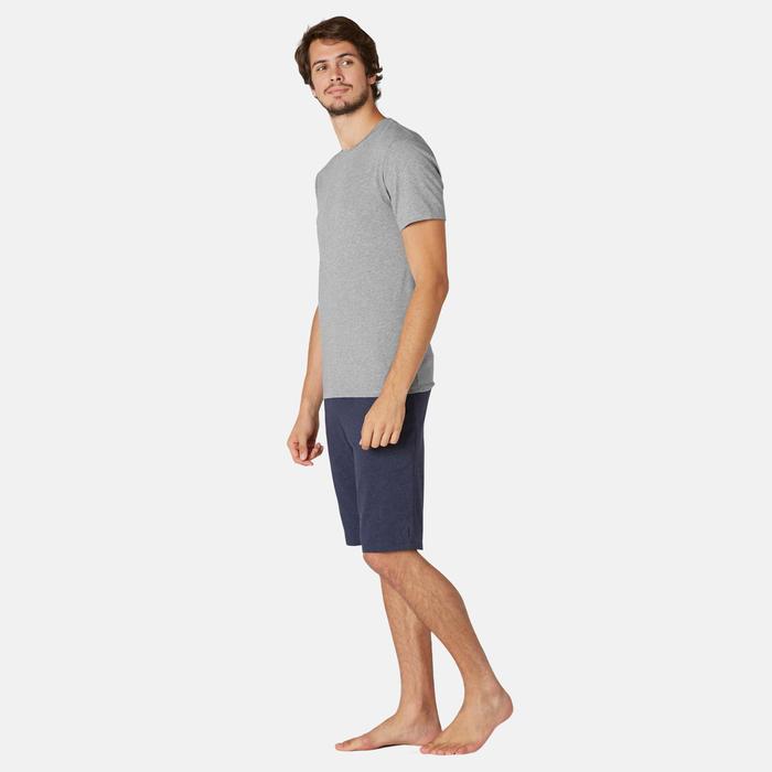 T-shirt voor pilates en lichte gym heren 500 slim fit gemêleerd grijs