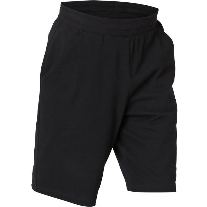 Short Sport Pilates Gym Douce homme 500 Long Regular Noir
