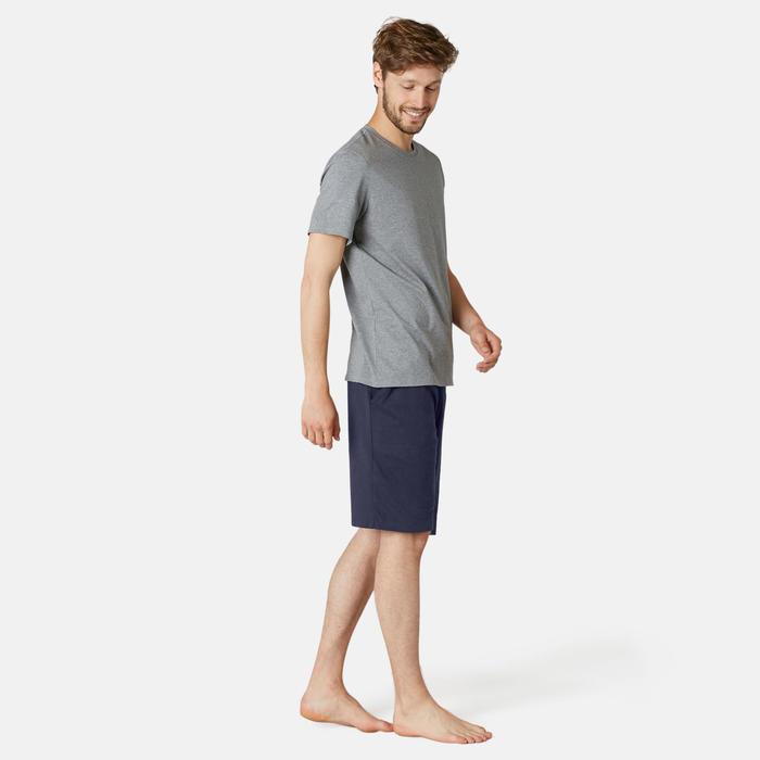 Short voor pilates en lichte gym heren 500 lang regular fit marineblauw