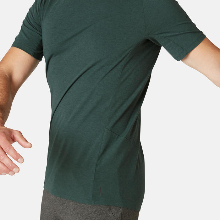 T-shirt voor pilates en lichte gym heren 900 slim fit donkergroen