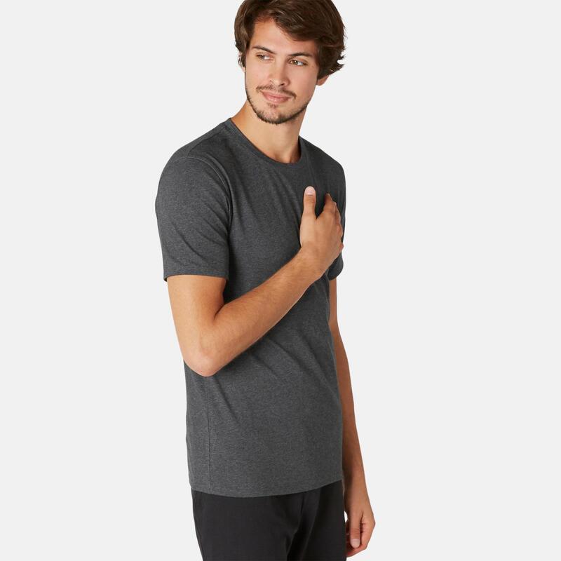 Stretch T-shirt voor fitness slim fit katoen gemêleerd donkergrijs
