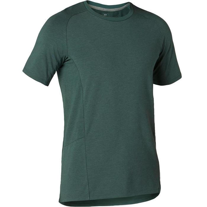 男款修身剪裁溫和皮拉提斯與健身T恤900 - 深綠色