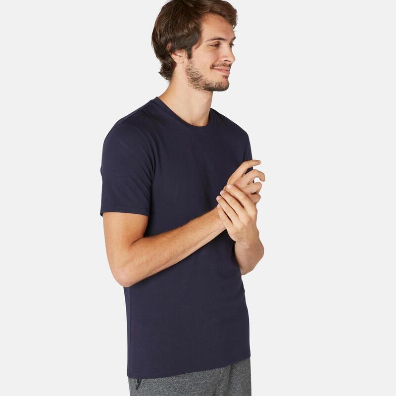 T-shirt voor pilates en lichte gym heren 500 rekbaar katoen slim fit marineblauw