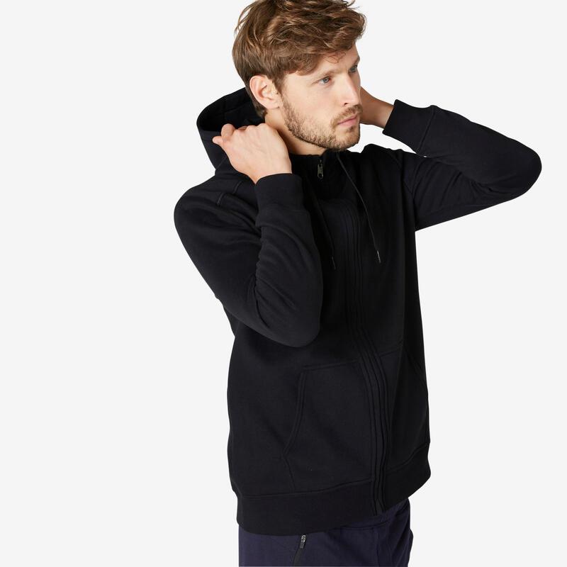 Hoodie met rits voor fitness molton zwart