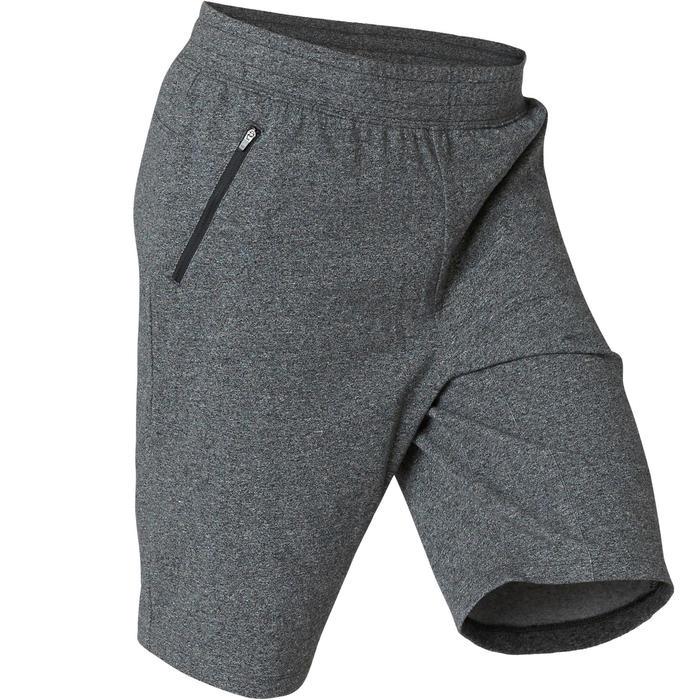 short de sport homme long poches zippées en coton gris foncé