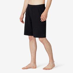 Lange short voor pilates en lichte gym heren 500 rekbaar katoen zwart