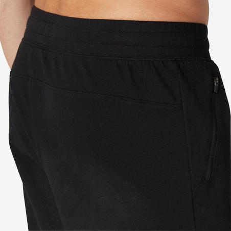 Fitness Long Slim-Fit Stretch Cotton Shorts with Zip Pockets - Black