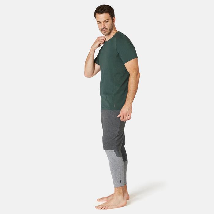 Camiseta Sport Pilates Gimnasia suave hombre 900 Slim Verde oscuro