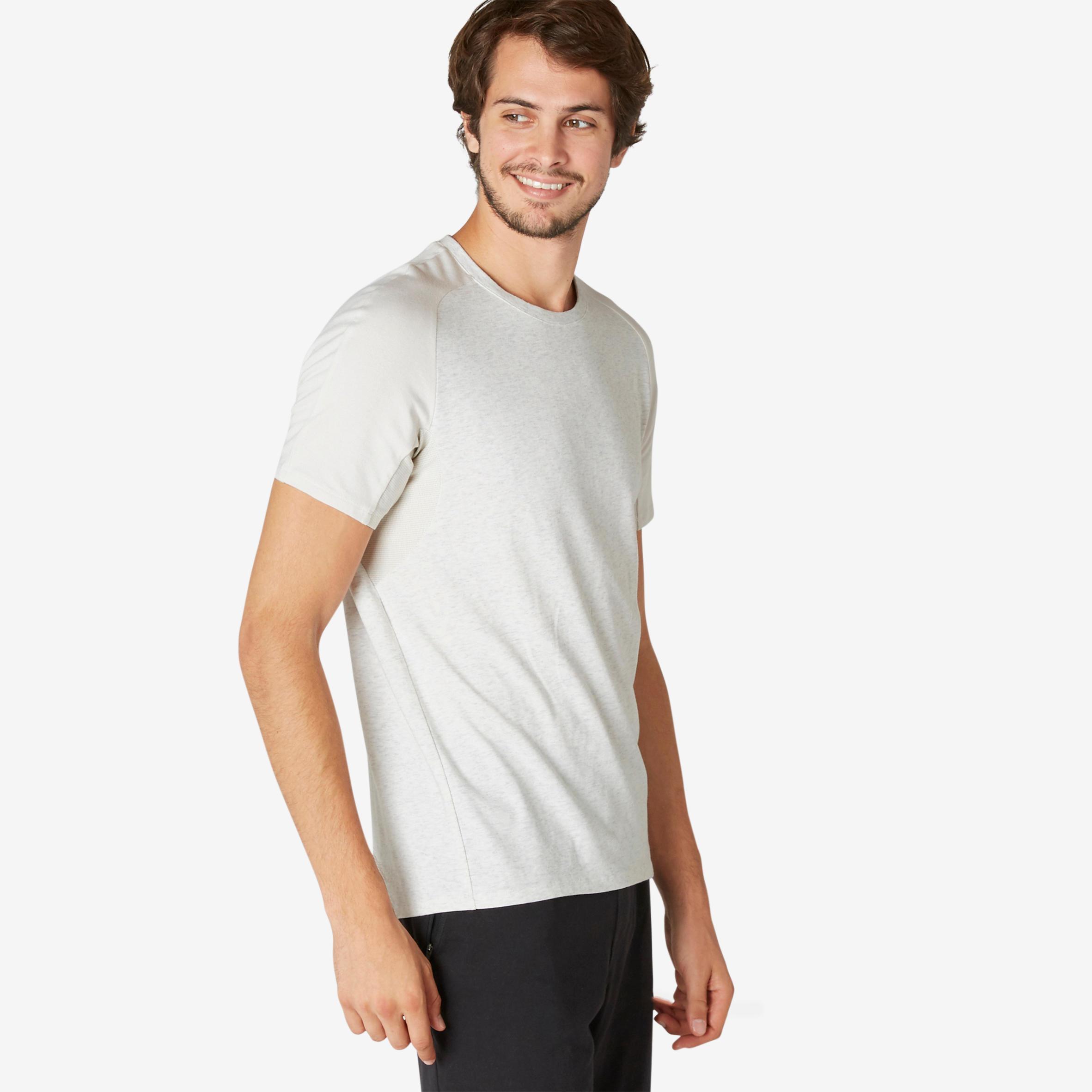 T-Shirt 520 Regular Sport Pilates sanfte Gym Harren meliert   Sportbekleidung > Sportshirts > Poloshirts   Nyamba