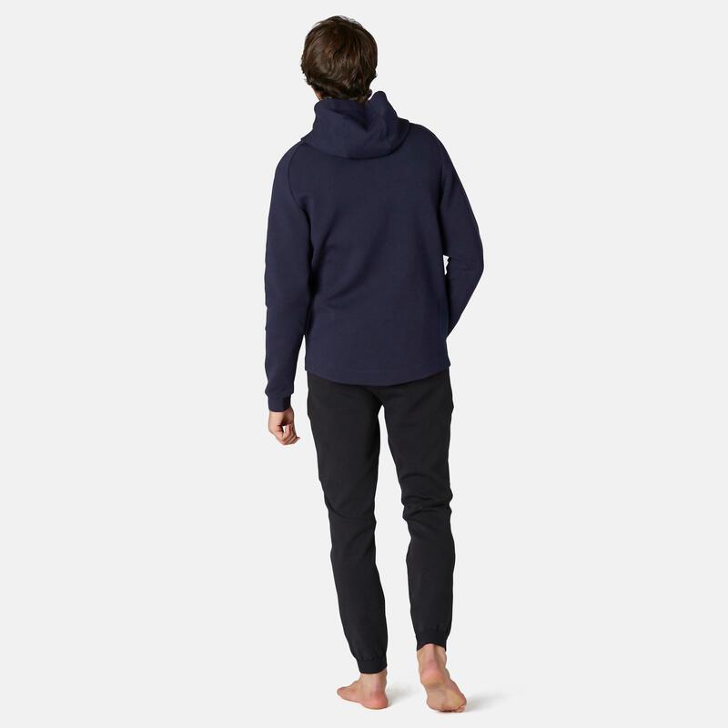 Sweat Zippé à Capuche Fitness Poches Zippées Bleu Marine