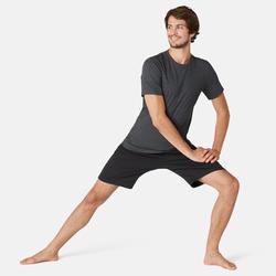 Men's Slim-Fit Pilates & Gentle Gym Sport T-Shirt 500- Dark Grey
