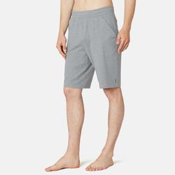 男款標準剪裁長版溫和健身與皮拉提斯短褲500 - 藍色灰色