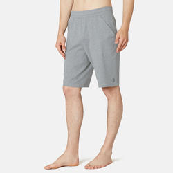 Short voor pilates en lichte gym heren 500 lang regular fit grijs