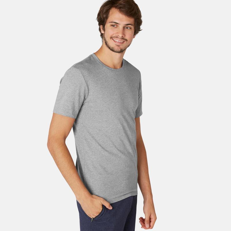 T-shirt voor pilates en lichte gym heren 500 rekbaar katoen slim fit grijs