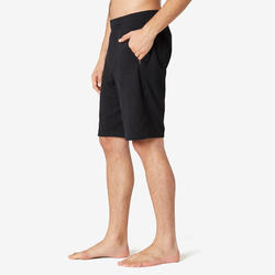 男款標準剪裁長版溫和健身與皮拉提斯短褲520 - 黑色