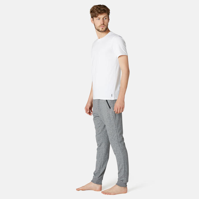 男款修身慢跑長褲500 - 灰色