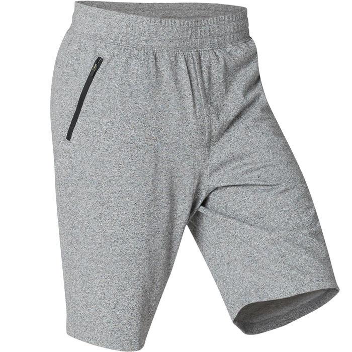 short de sport homme long poches zippées en coton gris clair