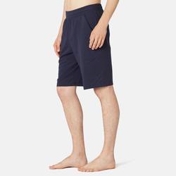 Lange stretch short voor fitness katoen marineblauw