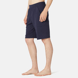 Short de sport homme long en coton bleu Marine