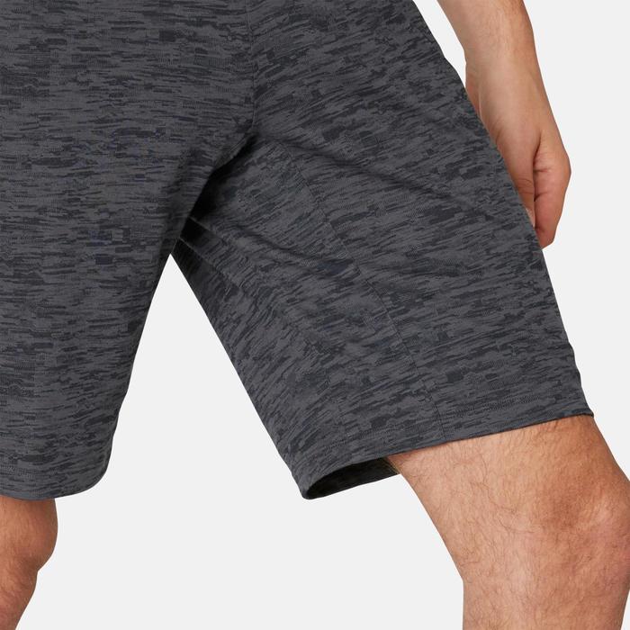 Short de sport homme long avec poches zippées en coton gris imprimé