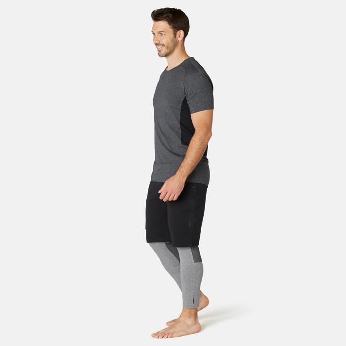 T-shirt homme 900 slim gris foncé chiné et noir