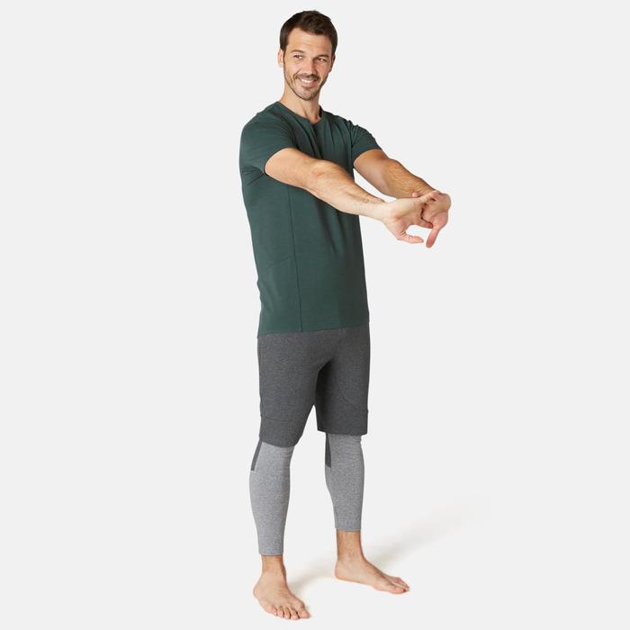 T-Shirt Sport Pilates Gym Douce homme 900 Slim Vert Foncé