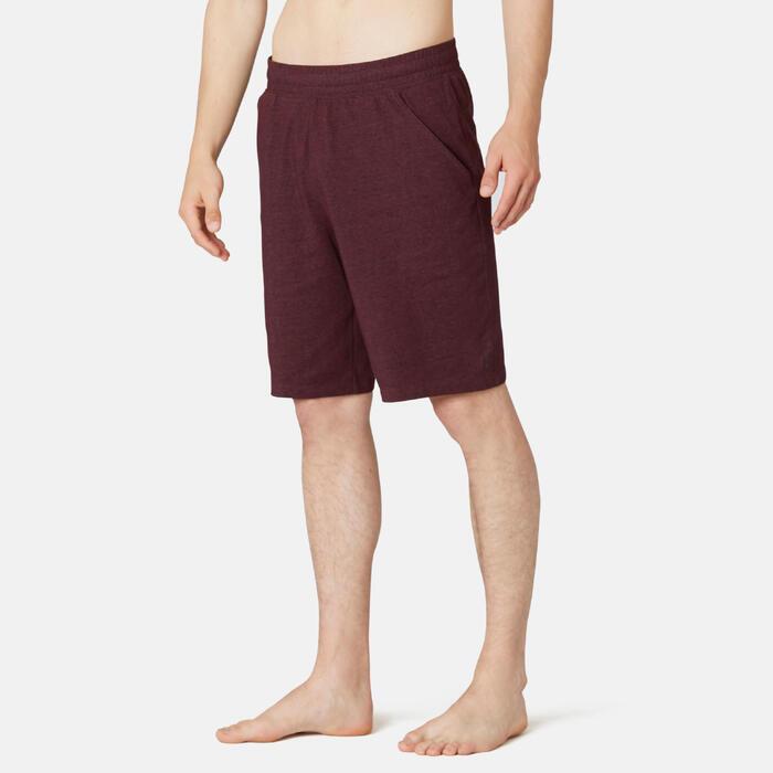 Short de sport homme long en coton bordeaux