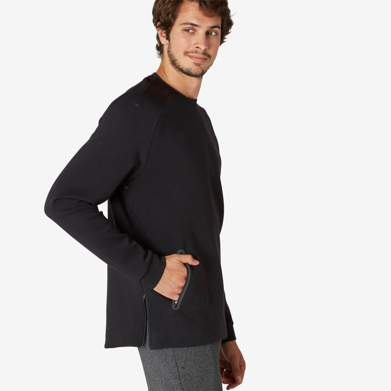 Fitness Sweatshirt with Zip-Up Pocket - Black