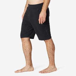 Lange short voor pilates en lichte gym heren 900 slim fit zwart