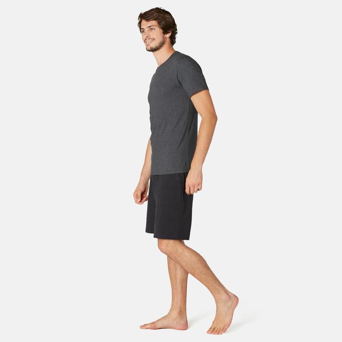 T-shirt voor pilates en lichte gym heren 500 slim fit donkergrijs