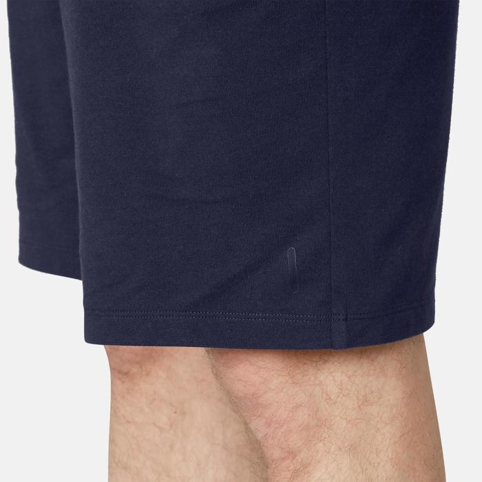 Lange herenshort voor pilates en lichte gym 500 donkerblauw