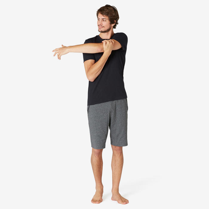 T-shirt voor pilates en lichte gym heren 500 slim fit zwart