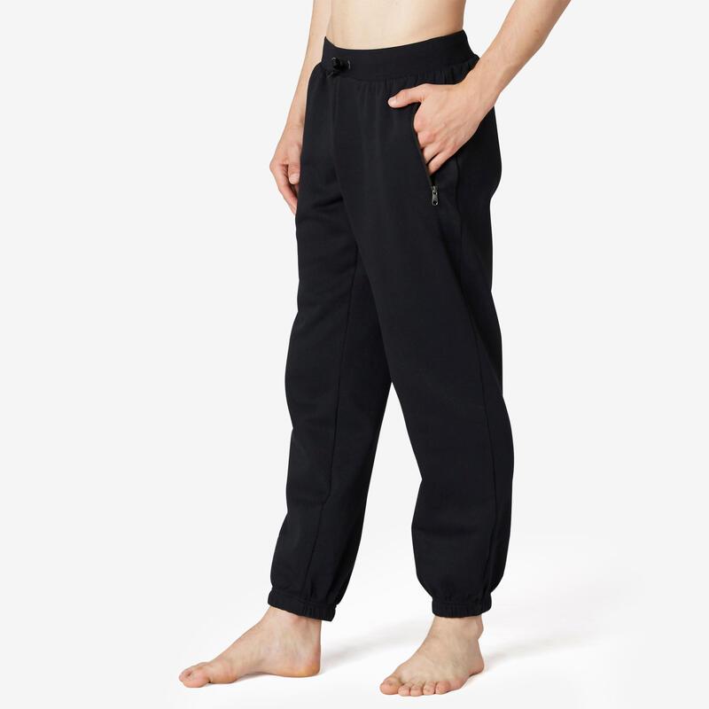 Pantalón jogger felpa fitness bolsillos cremalleras negro