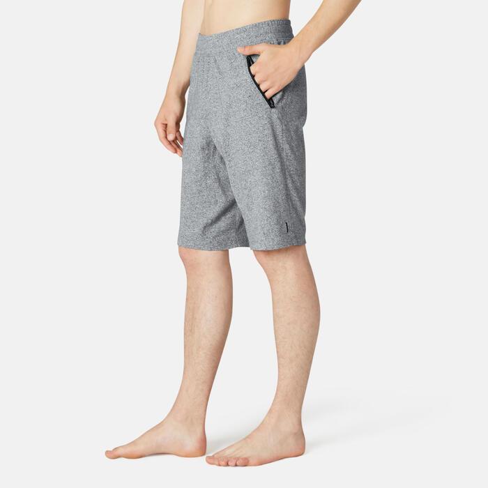 Short voor pilates en lichte gym heren 520 lang slim fit grijs