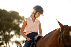 Women's Horse Riding Mesh Tank Top 500 - Light Pink/Dark Blue