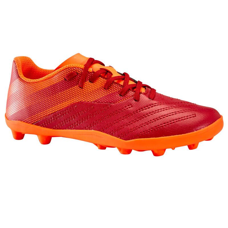 Chaussure de football enfant terrain sec AGILITY 140 FG Lacets Bordeaux Orange