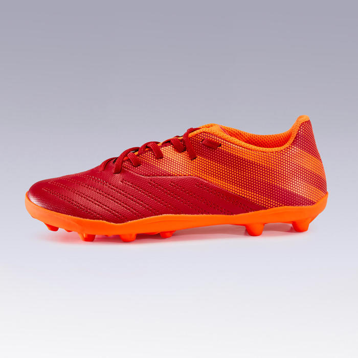 Chaussure de football enfant terrain sec AGILITY 140 FG Lacets Bordeaux Orange
