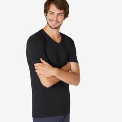 T-Shirt voor pilates en lichte gym heren 500 slim fit V-hals zwart