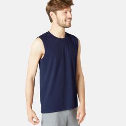 Stretch shirt voor fitness mouwloos katoen donkerblauw