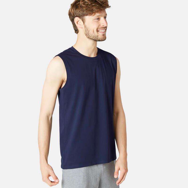 T-SHIRT E SHORT UOMO Ginnastica, Pilates - Canotta uomo gym 500 blu NYAMBA - Sport